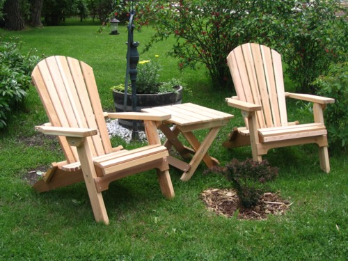 Cedar Adirondack Chairs with side table